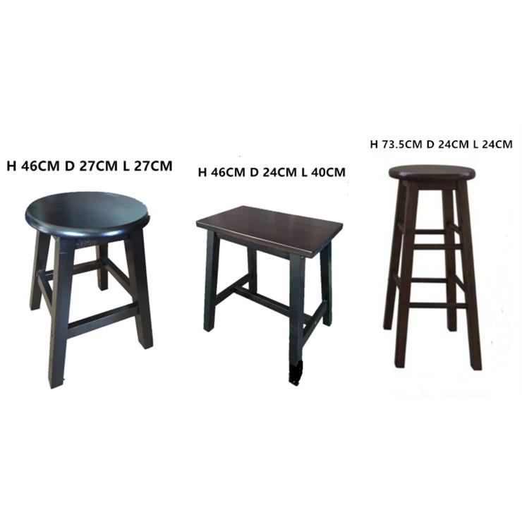 Full Solid Rubber wood Stool Chair / Wooden Bar Chair / Kerusi Bar tinggi bangku [D.I.Y]