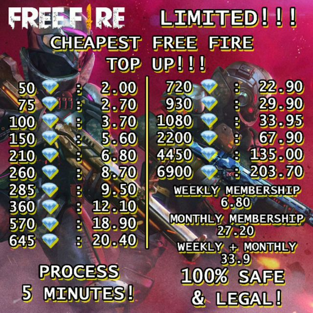 Topup Free Fire Diamond Cheapest 50 6900 Weekly Monthly Shopee Malaysia