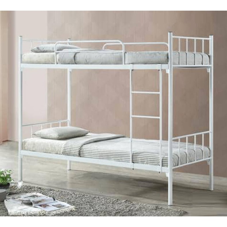 MARSON Single Size Wire Mesh Base Double Decker Bunk Bed Kids Bunk Bed copper color and white color