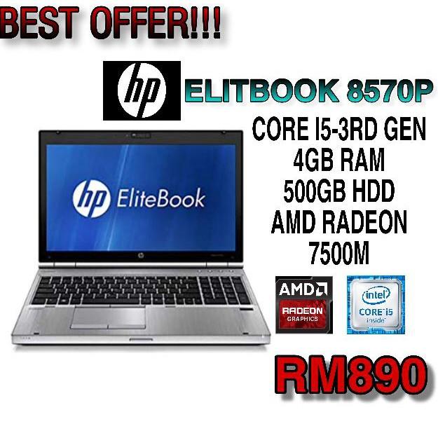 HP ELITEBOOK 8570P CORE I5-3RD GEN 4GB RAM 500GB HDD AMD RADEON 7500M 15 6  INCH