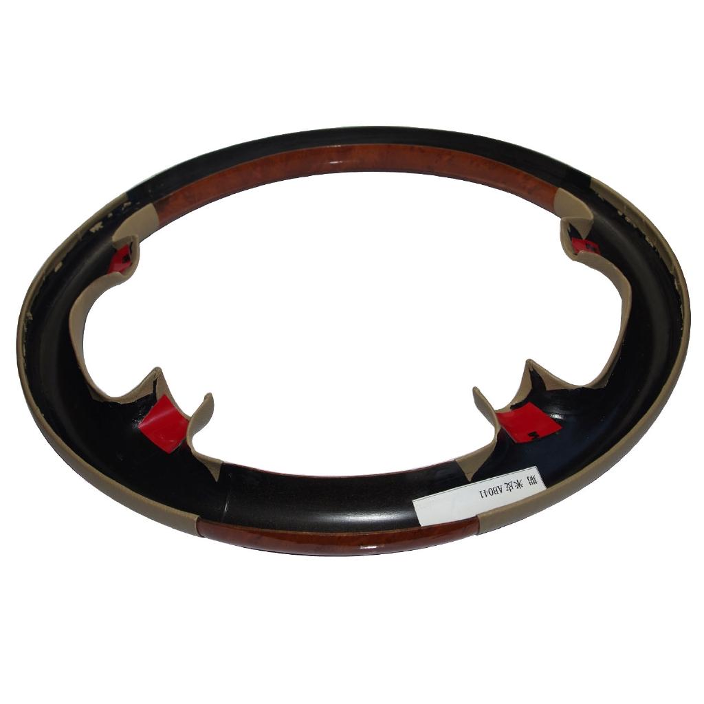 Gray Leather Light Brown Wood Steering Wheel Cover Trim 02-06 W211 E E320 E500