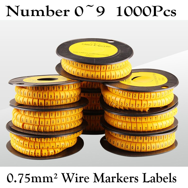 2000x Yellow Cable Wire Markers Labels Management Number 0~9 0.75mm²