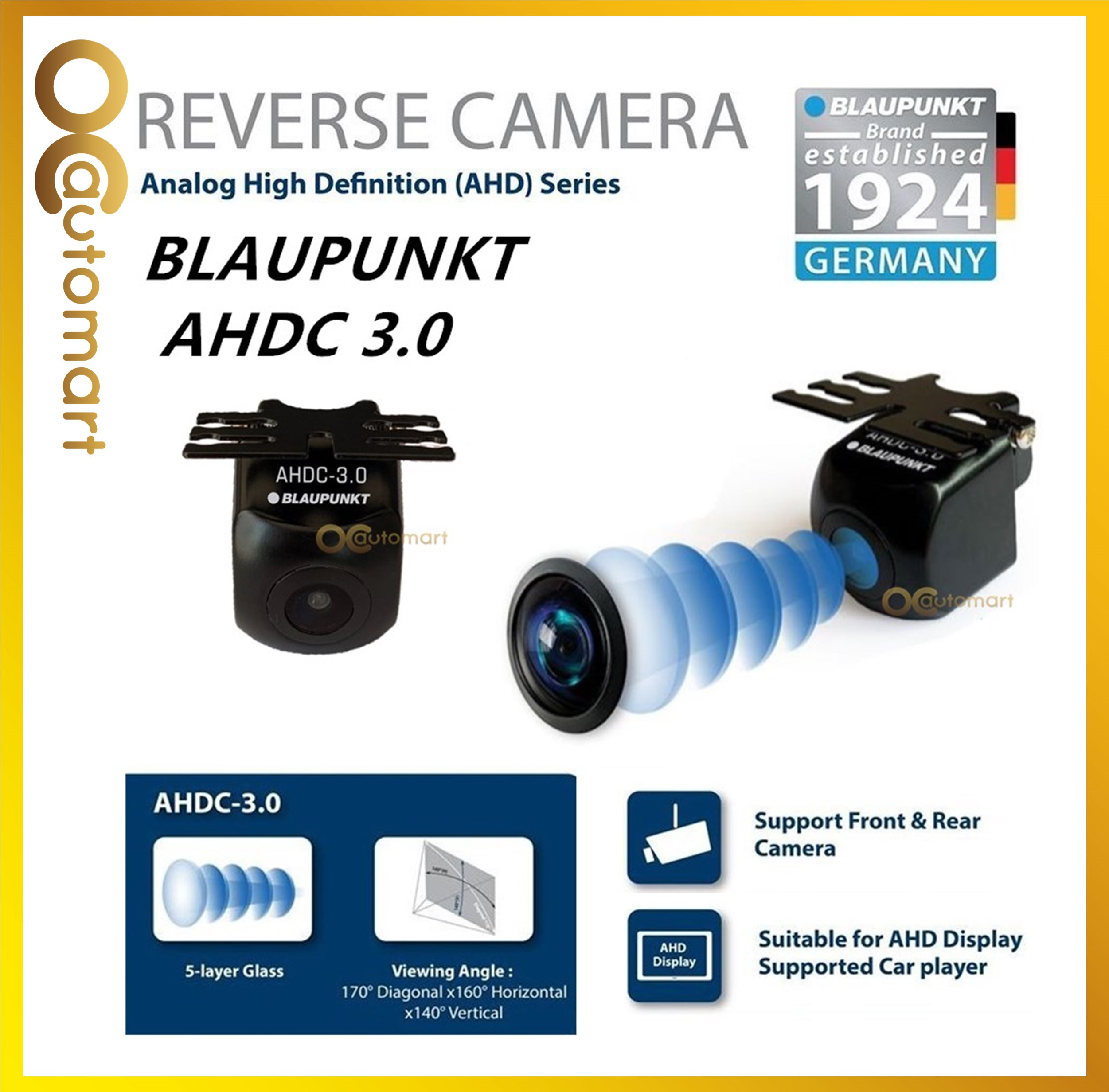 Blaupunkt 170° Ultra Wide Angle Car Reverse Camera AHDC 3.0 Car Camera Suitable for AHD Display Supported Car Player