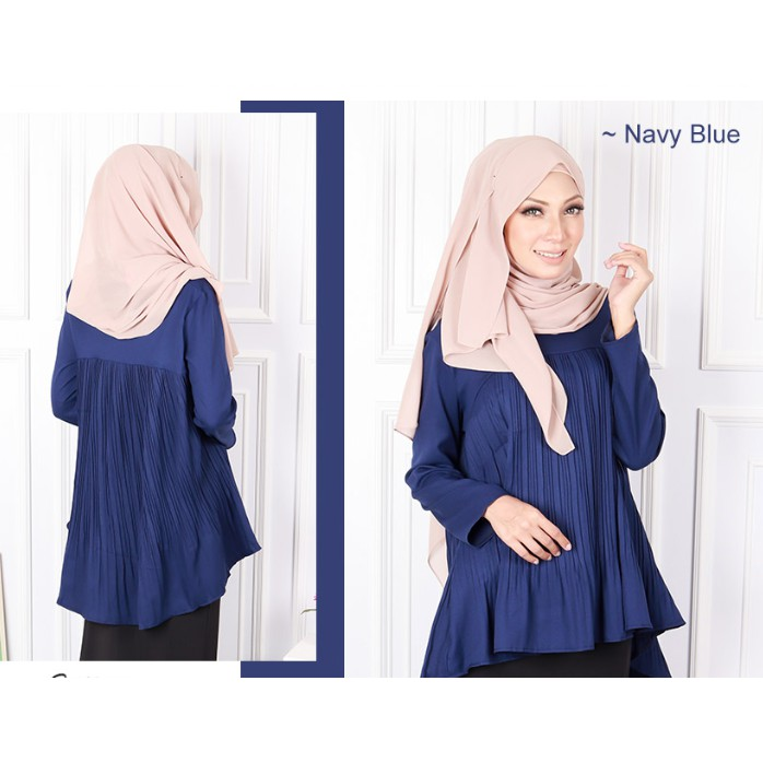 🌹READY STOCK 19567] M-XL BLOUSE WANITA MODEN COTTON BLEND PLEATED / ABSOLUTE PLEATED FLARE BLOUSE