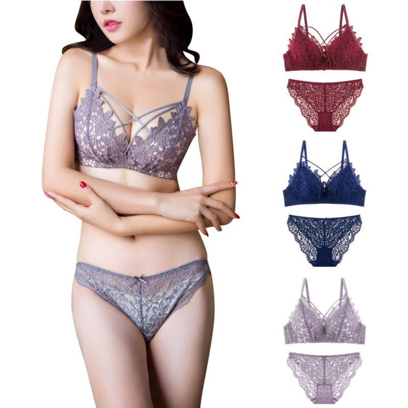 36701300724aa ProductImage. ProductImage. Fashion Women Lace Floral Bra Set Wire Free  Hollow ...
