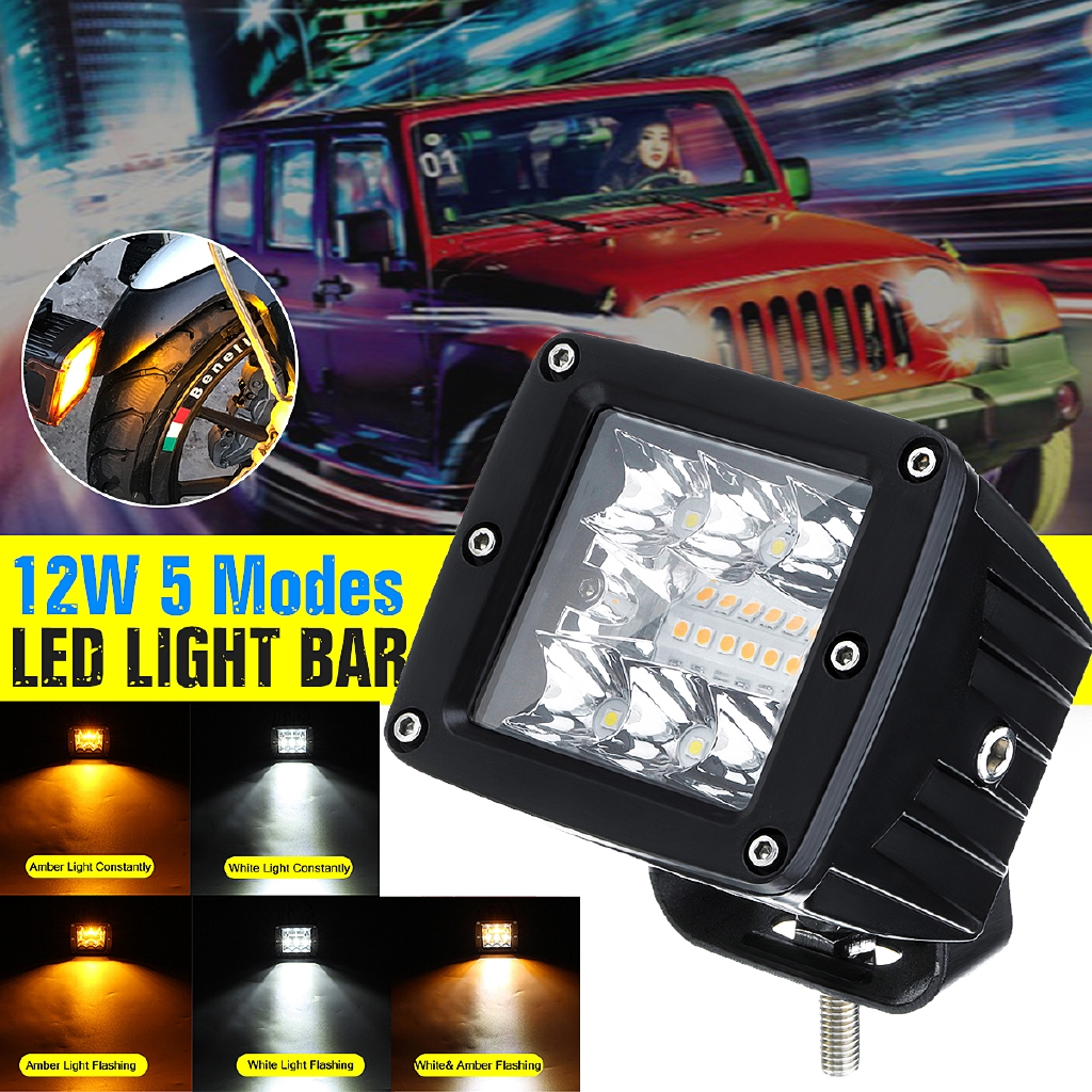 Flush Mount Light Bar Pair 4 Inch 12w 4 LED Work Flood SUV Truck ATV 4WD Offroad