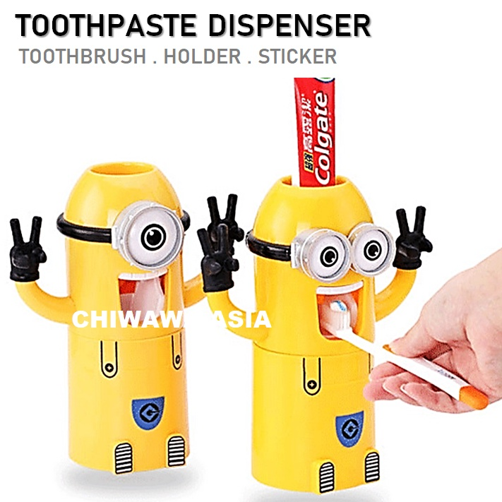 Wall Mounted Toothbrush Holder Cup Toothpaste Dispenser Automatic Squeezer Organizer Storage Rack Tooth Brush