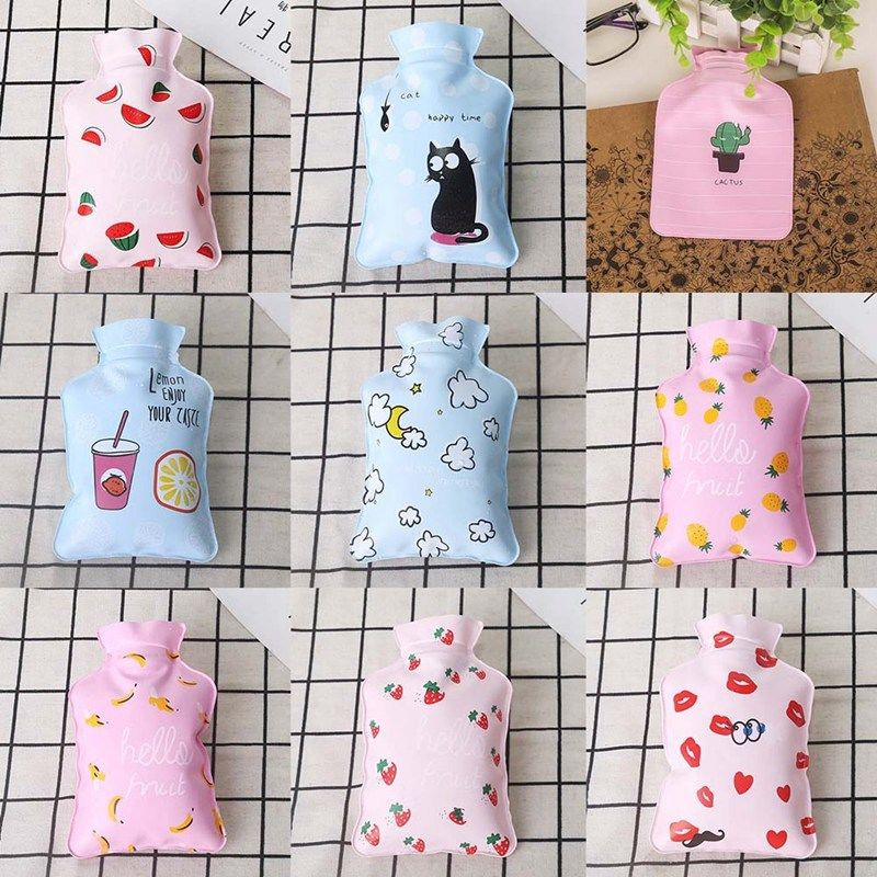Gray Hot Water Bottles,Cartoon Cat Claw 1L PVC Material Hot Water Bag with Fleece Covers for Pain Relief