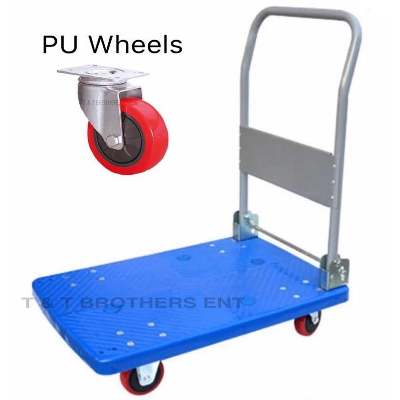 Red Dragon 300kg Foldable PVC Platform Trolley with PU Wheels