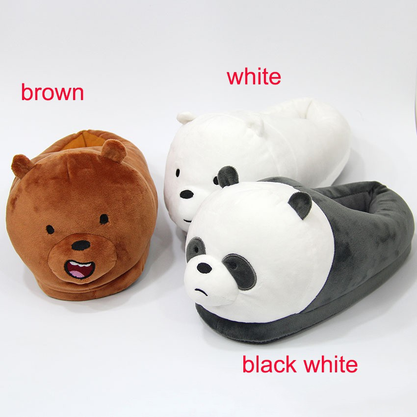 We Bare Bears Panda Ice Bear Plush Slippers Soft Warm Indoor Shoes Cosplay Gifts