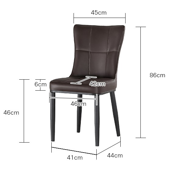 (READY STOCK) LEATHER DINING CHAIR WITH METAL POWDER COAT LEG