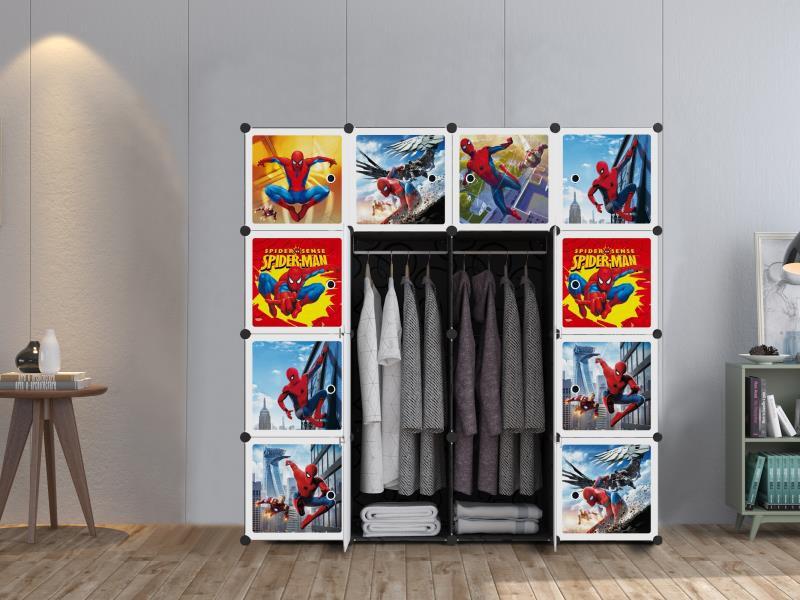 MALAYSIA: SPIDERMAN Black 16 cube DIY Multipurpose Portable Wardrobe Cabinet Clothes Storage Organizer Almari