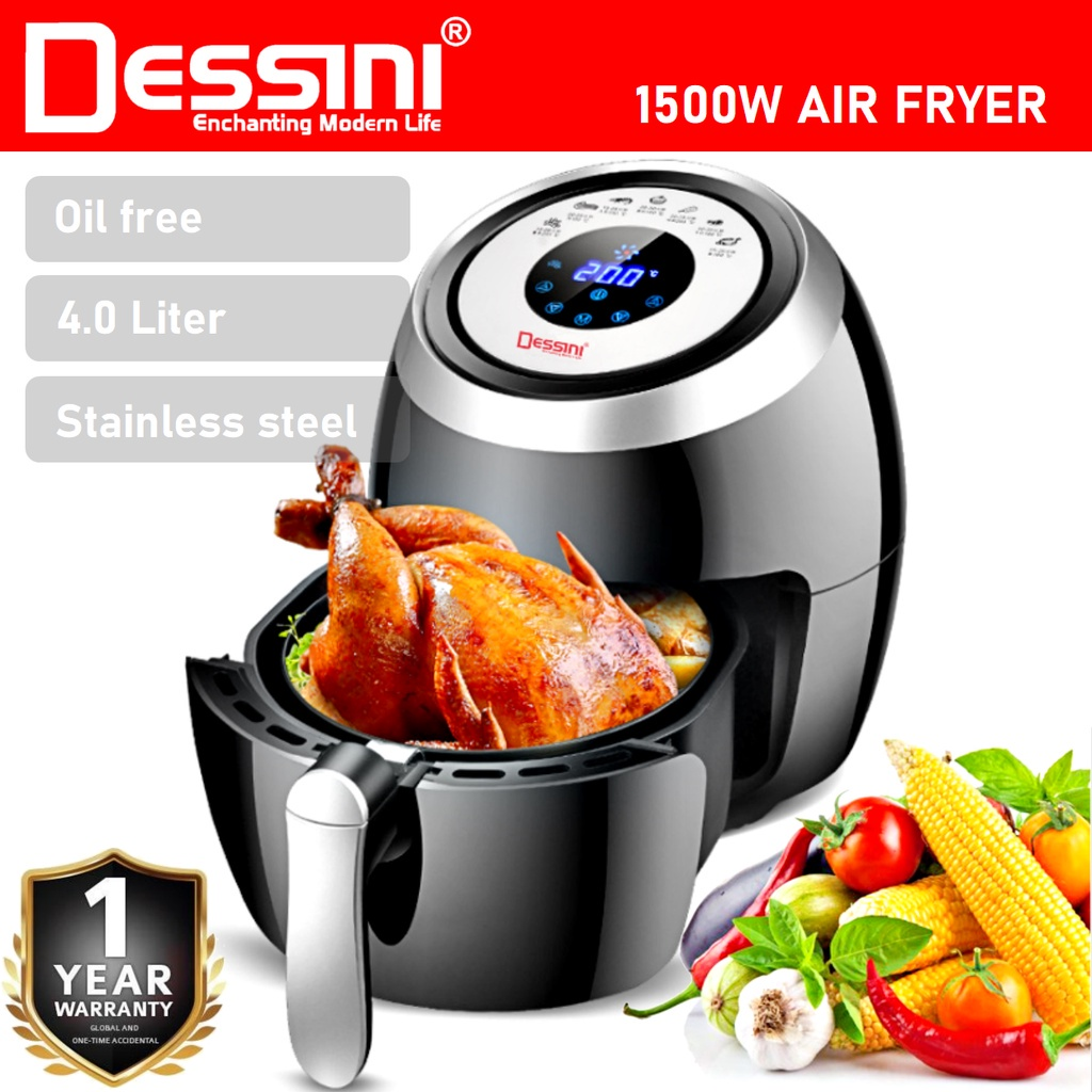 【ORIGINAL】 DESSINI ITALY 4.0L Electric Air Fryer Timer Oven Cooker Non-Stick Fry Roast Grill Bake Machine