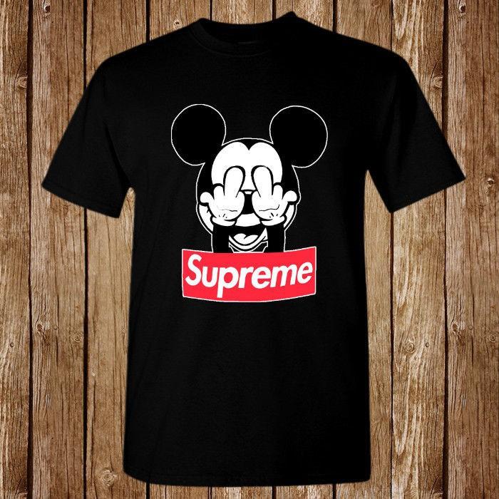 339354bb Fashion Men T shirt Graphic Supreme Italia Mickey Mouse Disney Estate Tees  Cotton Black