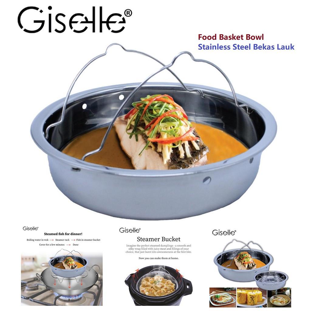 Stainless Steel Food Basket Bowl-Vegetable, Meat, Fish, Egg Steamer (KEA0220S4)