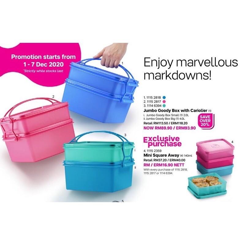 READY STOCK Tupperware Jumbo Goody Box With Cariolier
