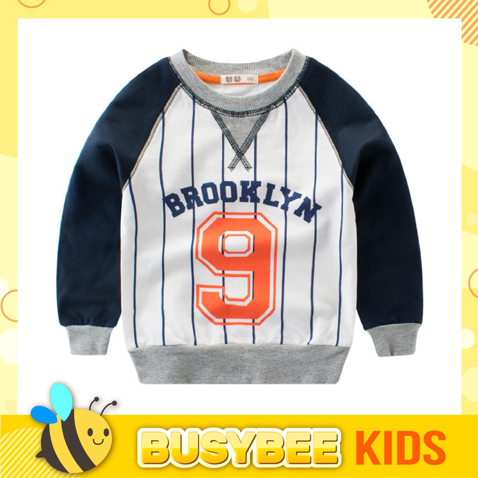 Kids Sweater for 1-10 years old boys girls sport theme long sleeve stripe printed Sweater kanak-kanak lengan panjang