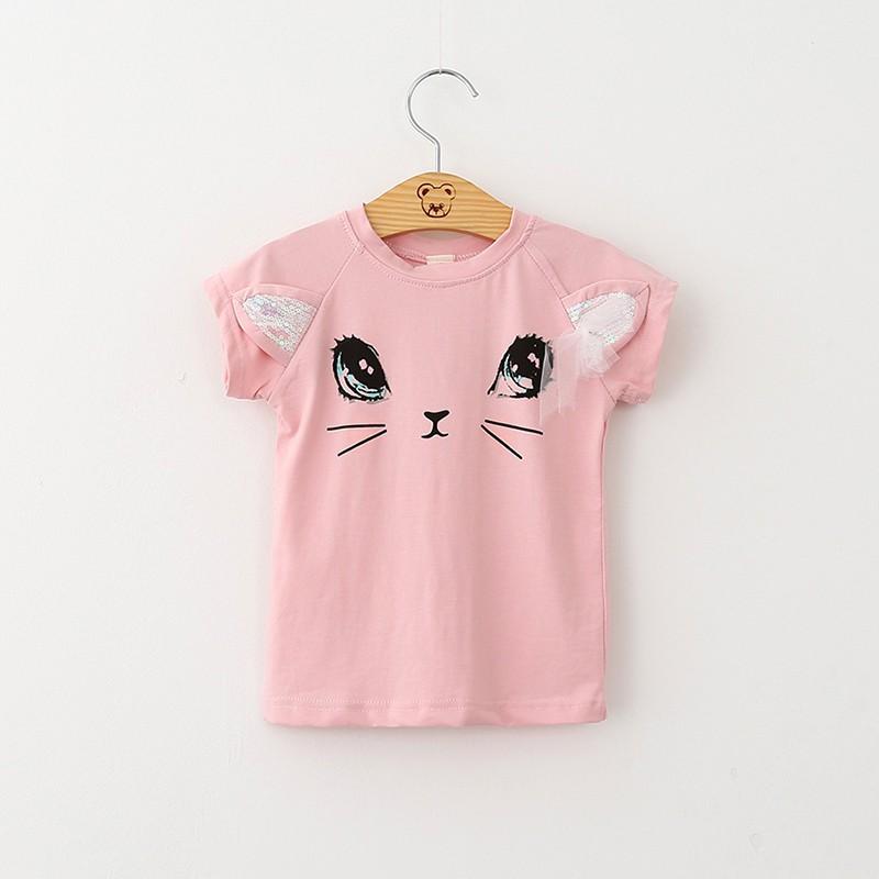 YESBABY Girls Short Sleeve Shirts Summer Cute Sweet Cartoon Print