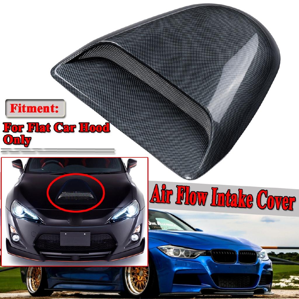Universal Car Air Flow Intake Hood Scoop Bonnet Decorative Vent Cover Carbon