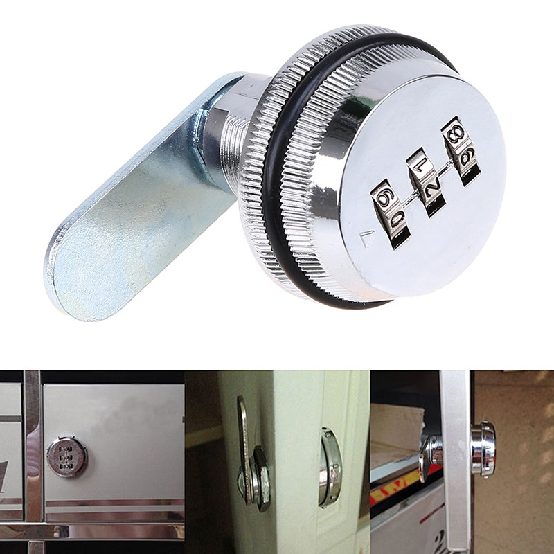 Alloy Code Combination Cam lock Keyless Post Mail Box Cabinet RV 3 Dial Silver