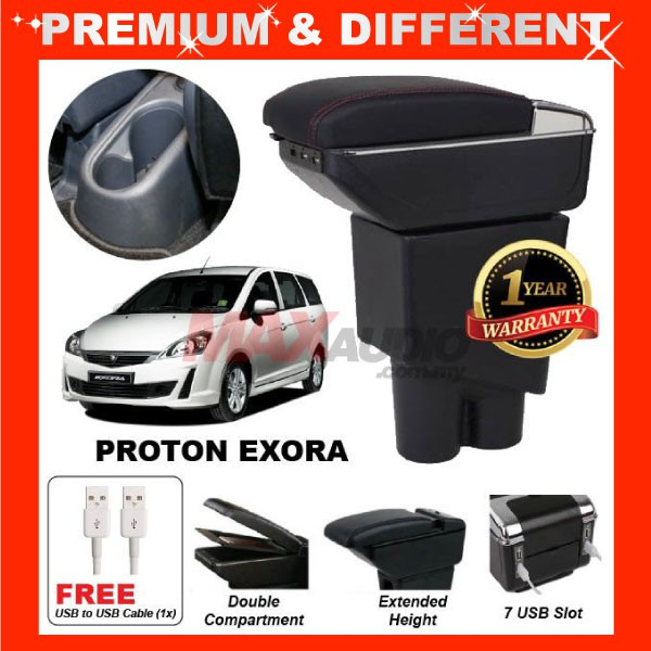 [FREE GIFT Gift] PROTON EXORA COMFORT ADJUSTABLE ARMREST 7 PORT USB & Cup Holder