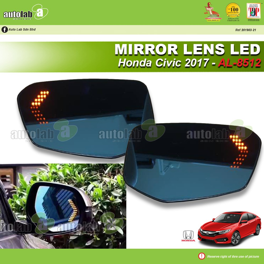 Side Mirror Lens with LED Indicator - Honda Civic 2017