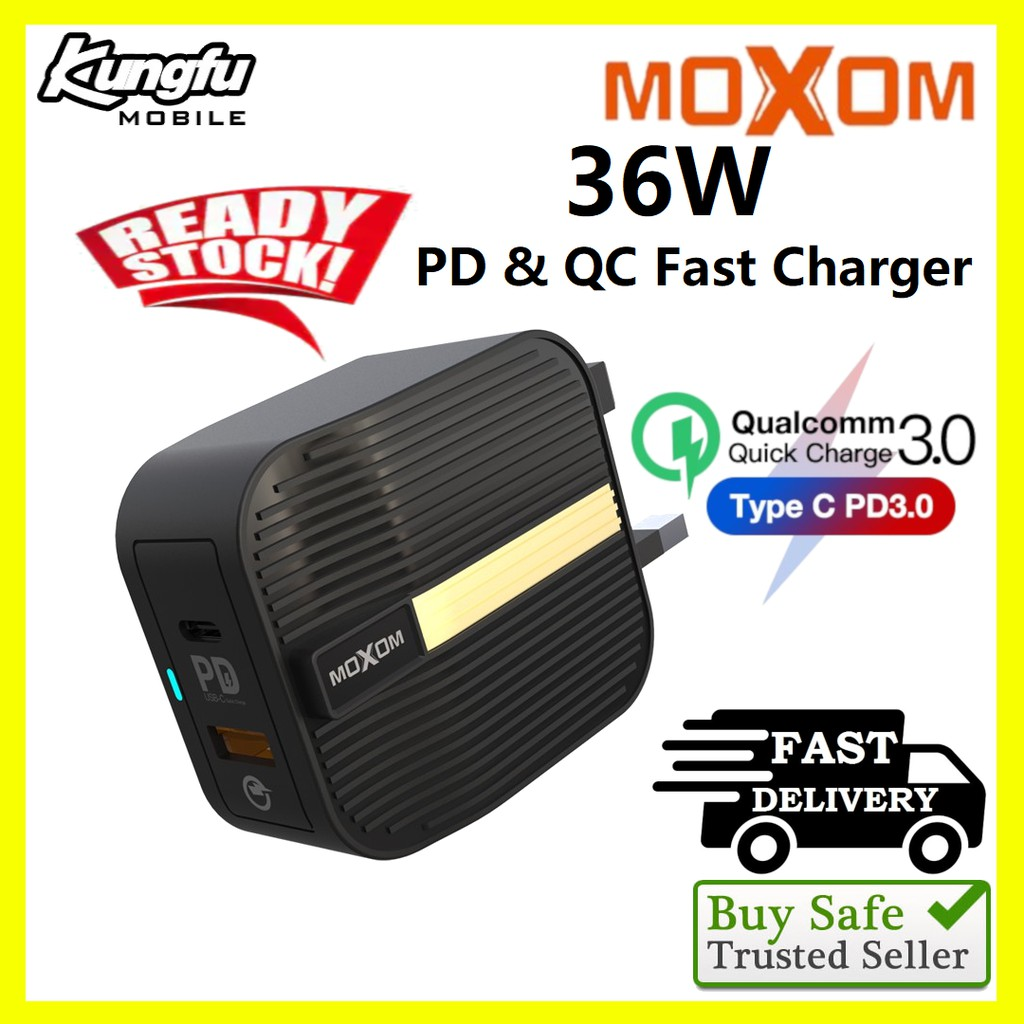 Original Moxom MX-HC10 36W PD & QC3.0 Fast Charge Power Adapter UK 3 Pin  (FREE Micro Cable)