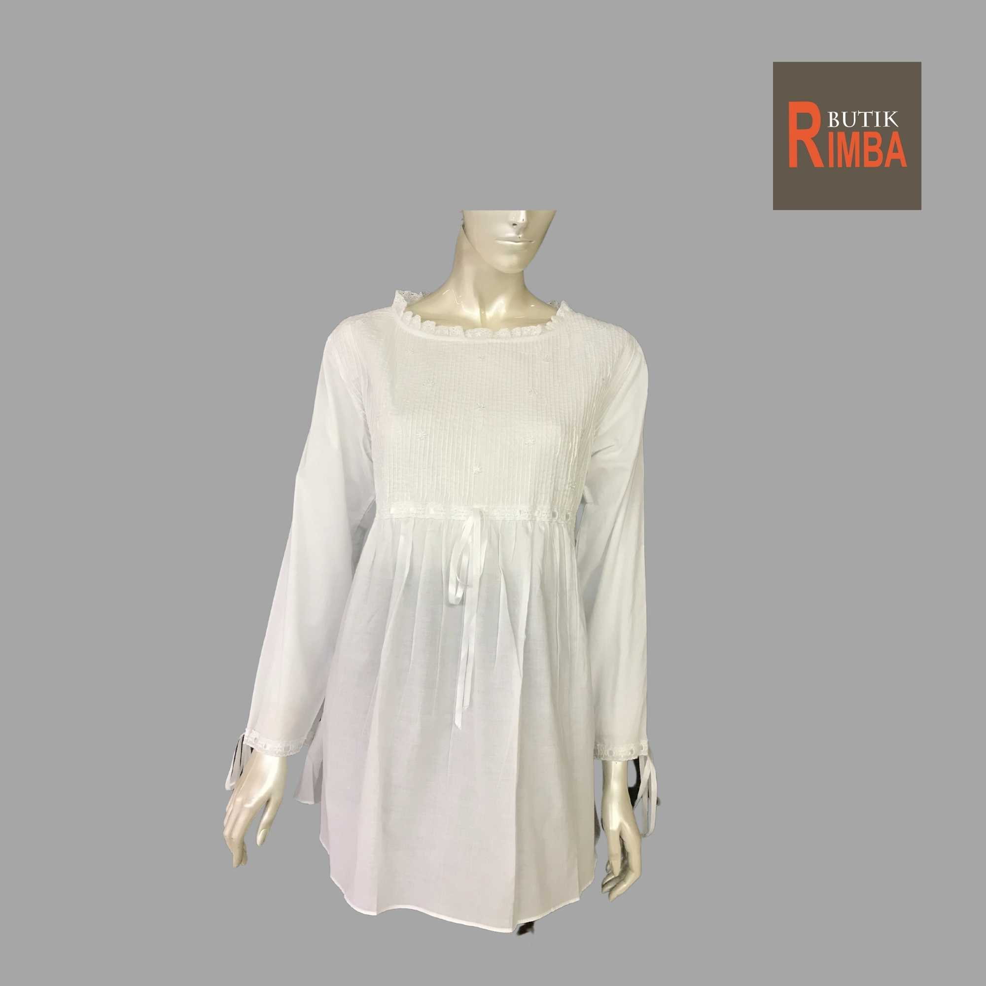 WOMEN CASUAL AND COMFORTABLE WHITE BLOUSE COTTON FREE SIZE PATTERN 24