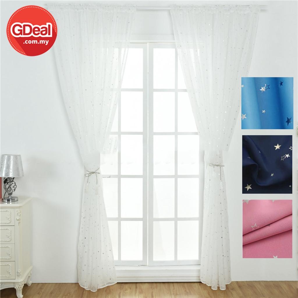 GDeal 1pcs Star Home Living Curtains Solid Window Curtain Home Bedroom Decor Curtain  Langsir (200cm x 100cm)