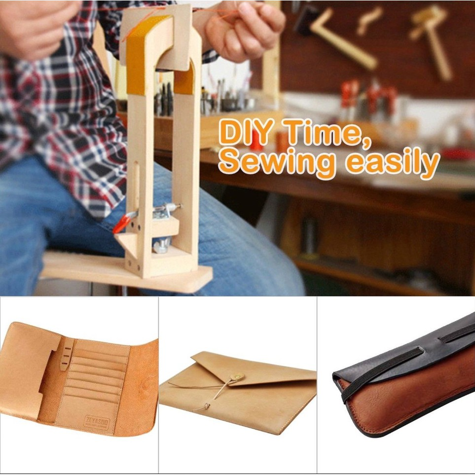 Hand Stitching Clamp for Leathercraft Sewing DIY Table Desktop Tool Wood Leather Working Craft Clip