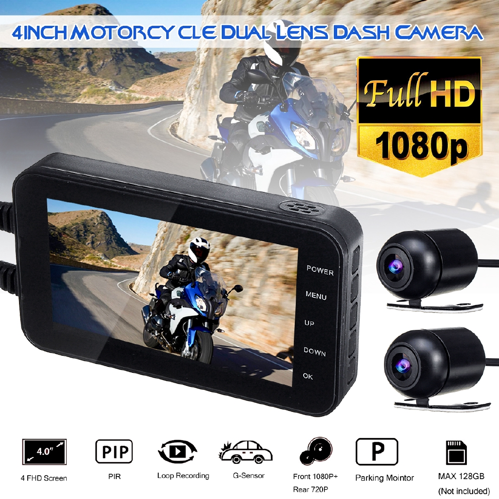 Motorcycle Bike Sports Action Video Camera DVR 1920*1080P Dual Lens Hard Wire