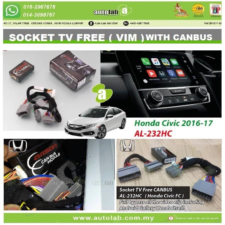 Socket TV Free (Bypass VIM) With CANBUS ANSON HONDA CIVIC 2016-2018 AL-232HC