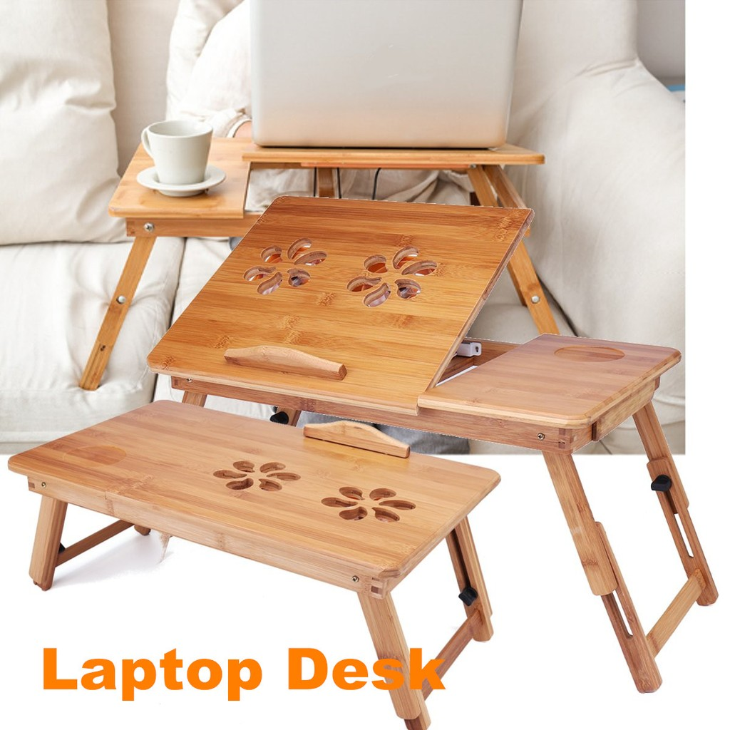 Picture of: Portable Folding Lap Desk Bamboo Laptop Breakfast Tray Bed Table Stand Shopee Malaysia