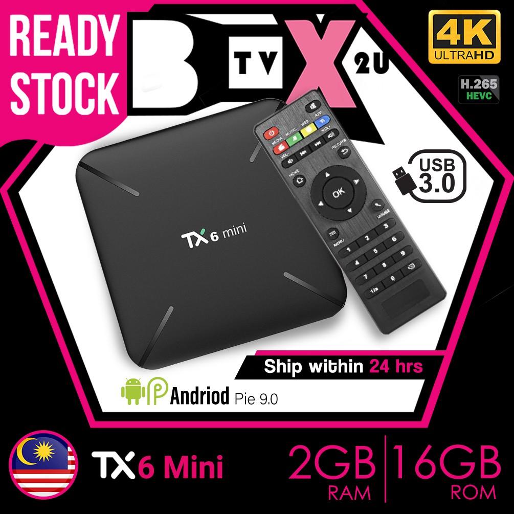 🔥Pre install 10k Movies + Channels🔥Tanix TX6 Mini 2GB+16GB Smart Android  TV Box Android 9 0 PIE Tx3mini IPTVMalayasia