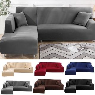L Shaped Modular Sofa With 2 Pillowcases Solid Color Stretch Sofa Cover Slip Corner Sofa Cover Pet Furniture Elastic Stretch Sofa Cover Shopee Malaysia