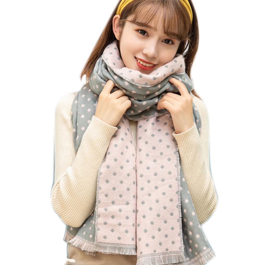 Autumn Winter Dots Printed Women Scarf Warm Keeping Shawl Long Girl Scarves