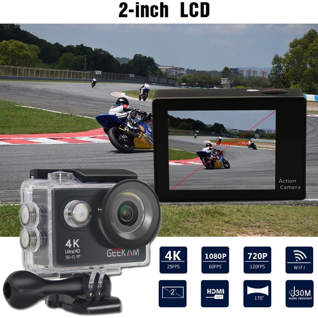Waterproof GEEKAM H9 4K Sports Action Camera 1080P Ultra HD WiFi 170° Wide
