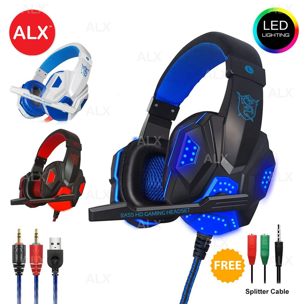LED Light USB Wired Gaming Headset Headphone Earphones Microphone Splitter  Cable