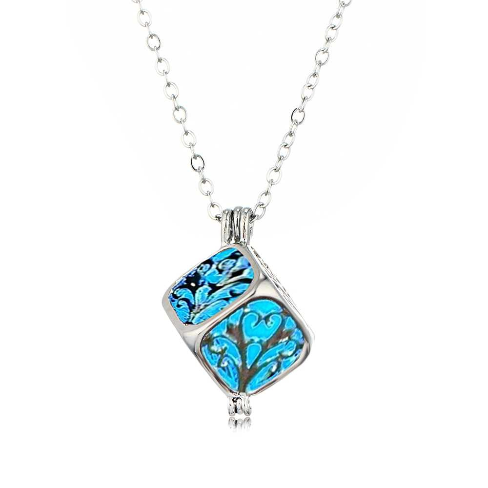Charm Silver Cube Light Necklace Women Glowing Pendant Jewelry (Crystal Blue)