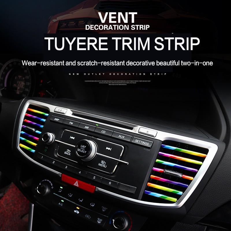 Blue 10Pcs Car Air Conditioner Outlet Vent Grille Decoration U Shape Molding Trim Strip,Car Styling Accessories