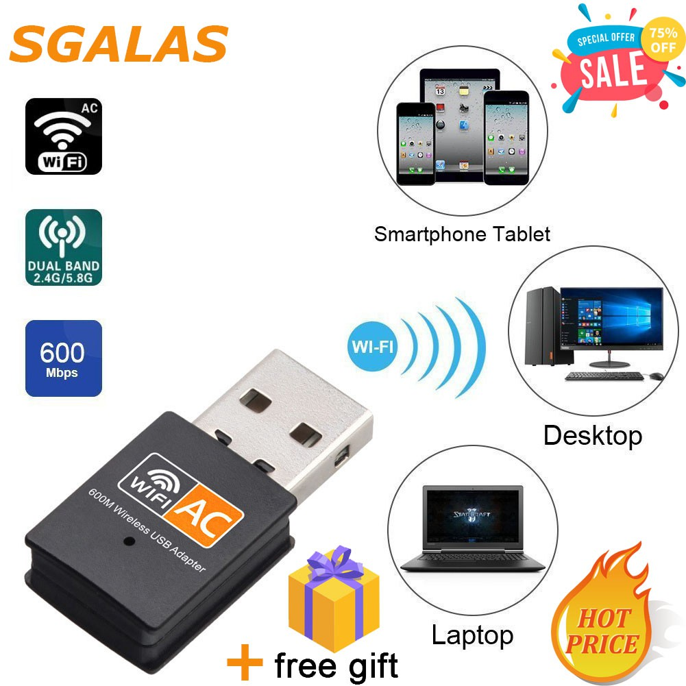 USB wireless WIFI Adapter 600Mbps Dual Band 2 4G / 5G Hz Wireless Lan USB  High Speed WiFi Adapter 802 11AC PC/Latop