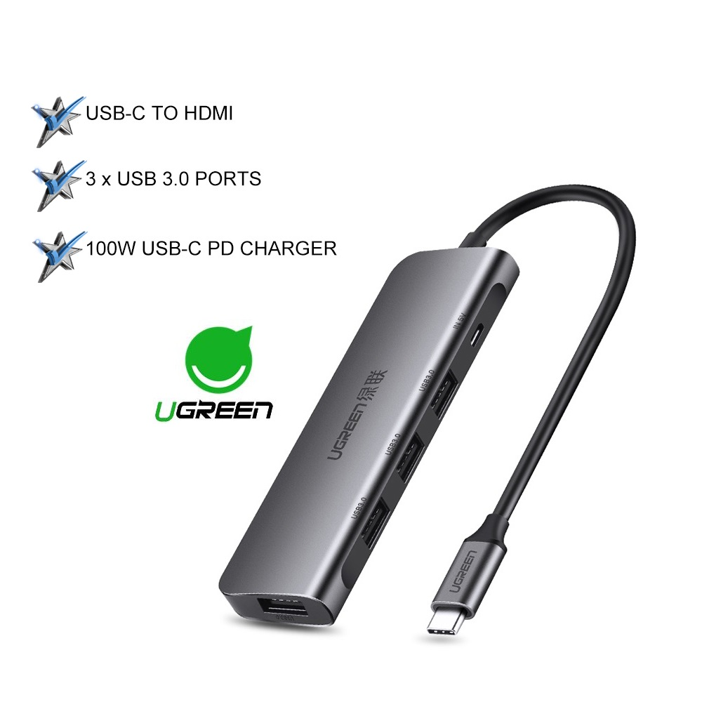 UGREEN 5 in 1 Multifunction Type C Hub USB3.1 Adapter Dock with 4K HDMI Port 3 USB 3.0 Ports 60W USB C PD Charge Port