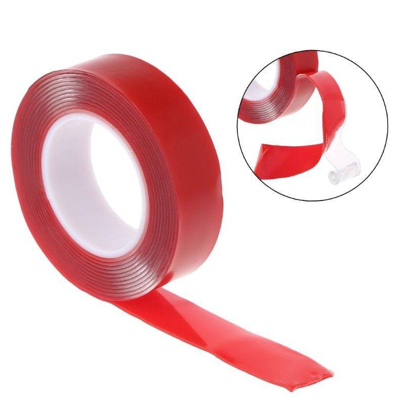 3M x 18MM Red Double Sided Adhesive Tape Acrylic Gel Transparent Clear Car Fix