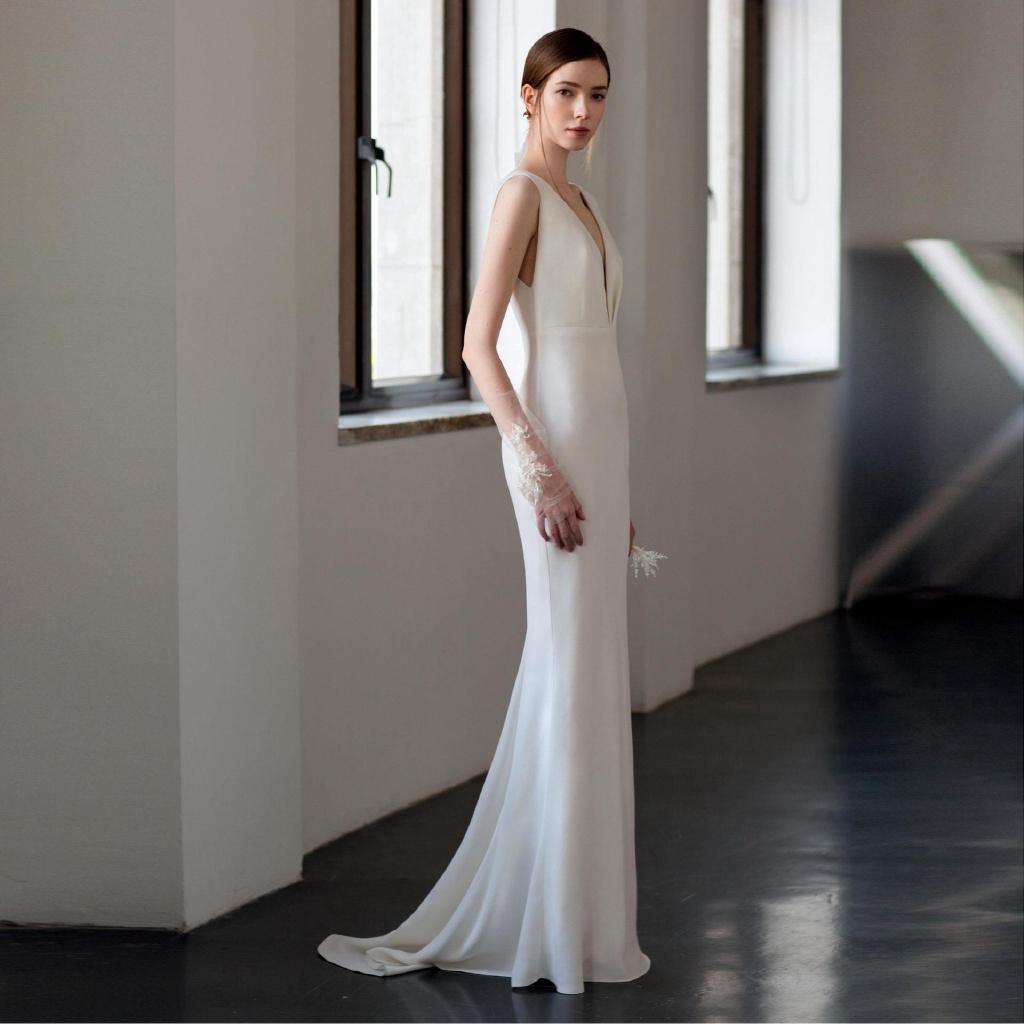 Jamuan makan malam gaun pengantin wanita fotografi perkahwinan perkahwinan  V-neck sederhana baru