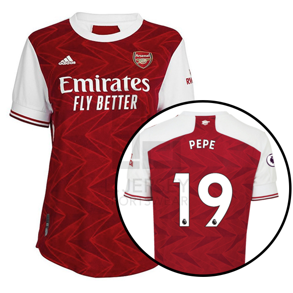 Arsenal Women Home Season 20/21 AEROREADY Fans Issue Jersey with EPL #19 PEPE + Patch Printing