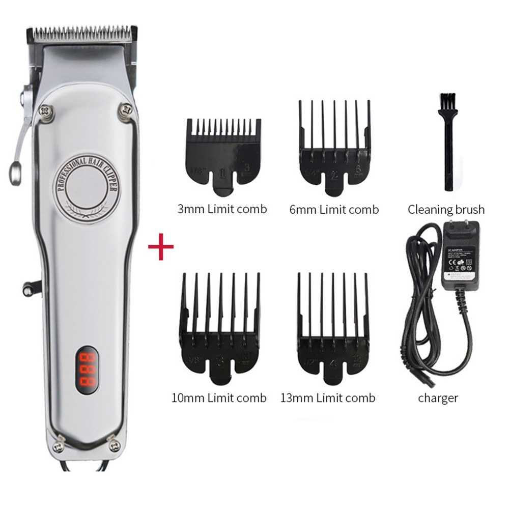 Professional Barber Hair Clippers Cordless Hair Trimmer Haircut with Stainless Steel All Metal Housing For Men Recharge