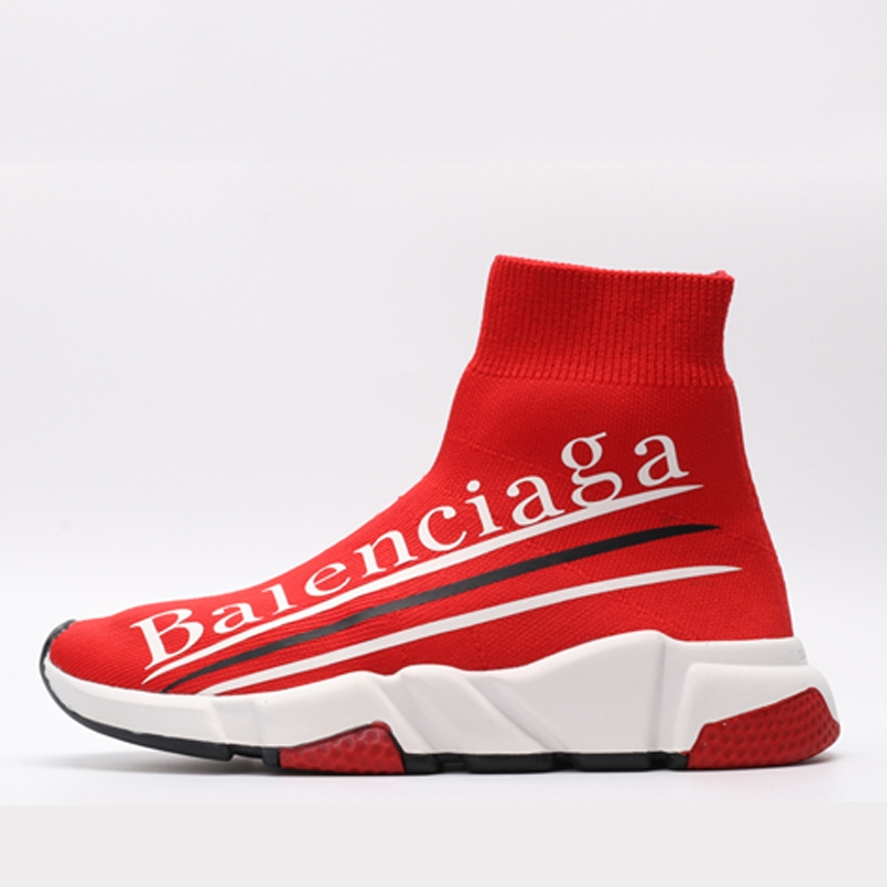 shopping reputable site elegant shoes Balenciaga Soft Men and Women Red Letters High-top Socks Sneakers ...