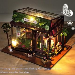 3d Diy Imagine House Model Kit Greenhouse Miniature Led Light Dolls House
