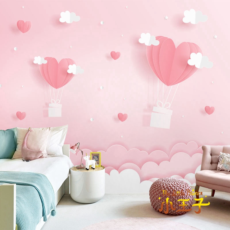 Cartoon Children S Room Wallpaper Girl Pink Bedside Bedroom Wallpaper 3d Princess Room Decoration Background Wall Cloth Shopee Malaysia
