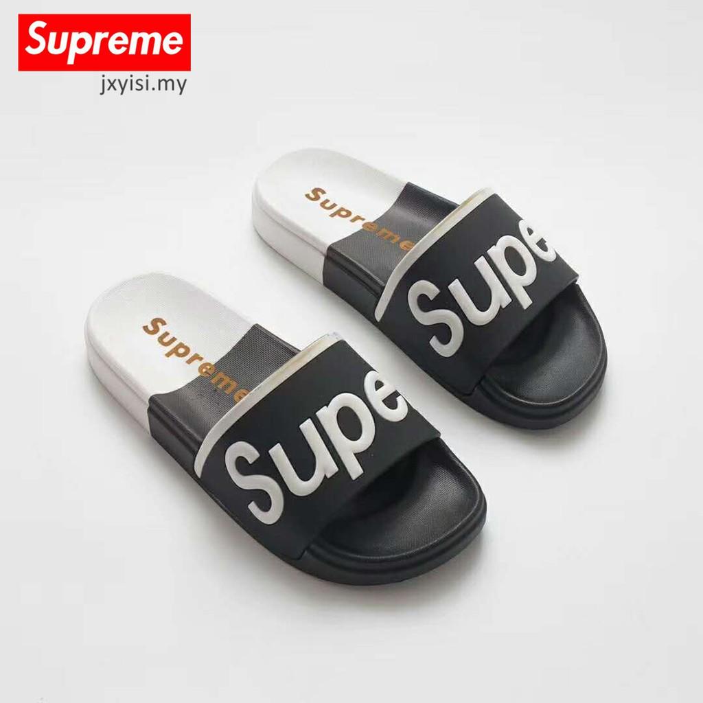 1210aaabb3b2 Supreme suprize design black Flip flops House slippers Mens Womens Beach  sandals
